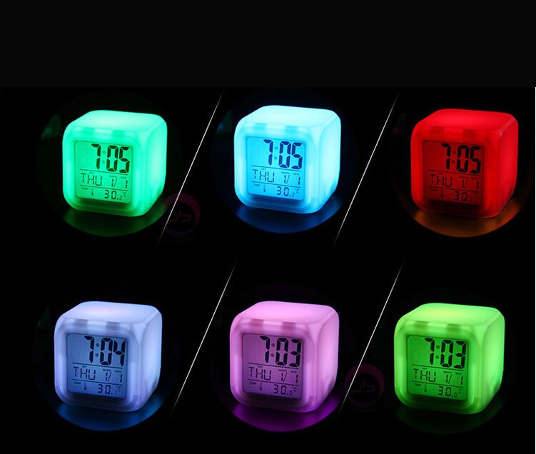 Minecraft reloj despertador Digital con luz LED de colores